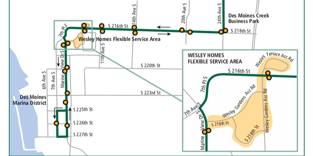 Community Shuttle from Angle Lake to Des Moines Marina starts Saturday